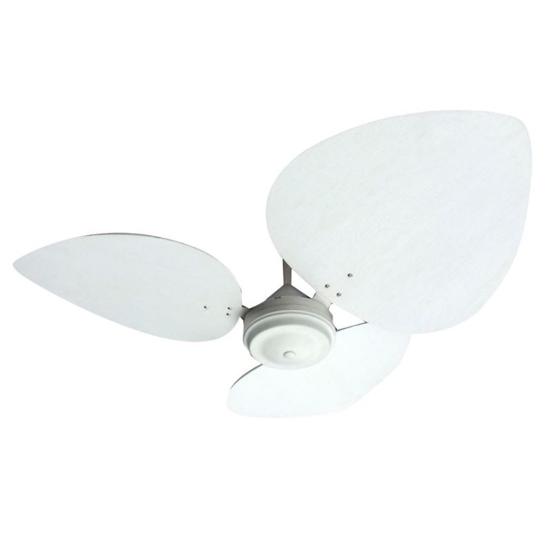 CEILING FAN WITH WOODEN FRENCH WHITE MOTOR AND PALM LEAF OVAL BLADES